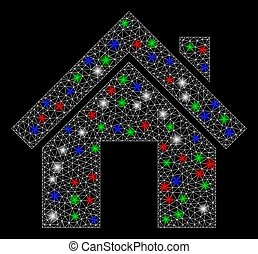 点, 2d, 噛み合いなさい, 明るい, 家, 火炎信号