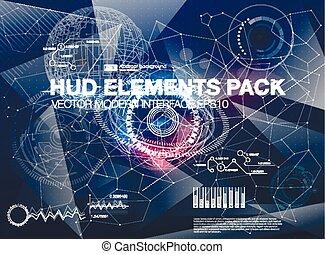 点, hud, ベクトル, ux., ビジネス, elements., structure., 科学, 抽象的, ...