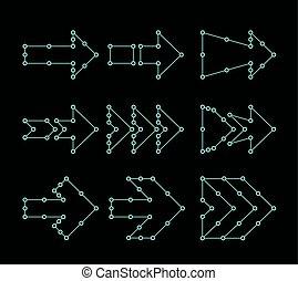 点, hud, 形態, 矢, ライン, connected., デザイン, インターフェイス