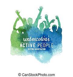 為歡呼, watercolour, 人群, 人們