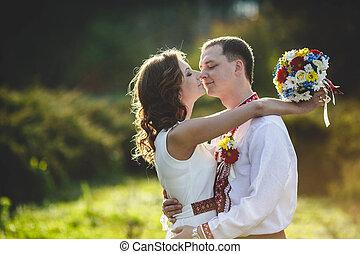 烏克蘭人, 新娘, 在, 傳統, 服裝, 被裝飾, 襯衫, 在戶外