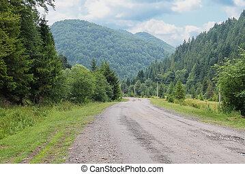 烏克蘭, 國家, 解決, carpathians, 在之間, 小, 路