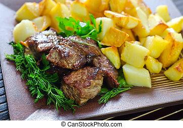 烘烤, 肉, 土豆