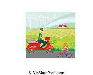 烘馅饼发送, 人, 在上, a, 摩托车, 同时,, 甜, 小女孩, 在上, 自行车