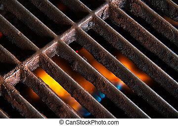 烤架, 花格, 由于, 火焰, 在下面