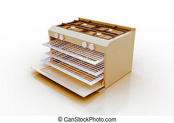 烤爐, render, 現代, 3d