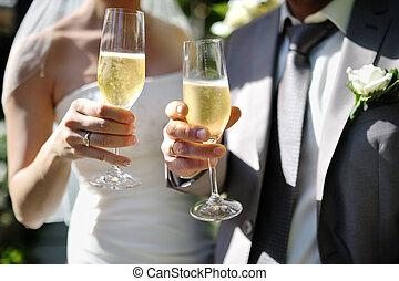 烤面包, 新娘, 新郎, 香檳酒, 做