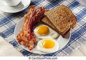 烤面包, 有机, sunnyside, 咸肉, 向上, 蛋