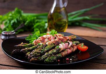烤, 紫色, 蘆筍, 包裹, 由于, 咸肉