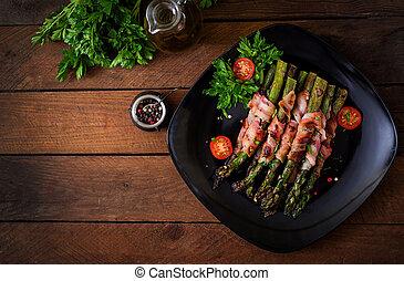 烤, 紫色, 蘆筍, 包裹, 由于, bacon., 頂視圖