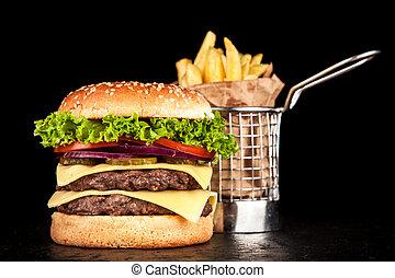 烤, burger, 美味