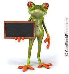 热带, 青蛙, 乐趣, 黑板, 3d, 绿色