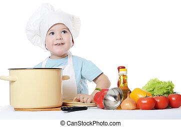 烹調, 男孩, 很少, 帽子