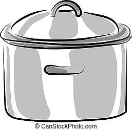 烹調, 白色, 插圖, 銀, 矢量, 背景, 平鍋
