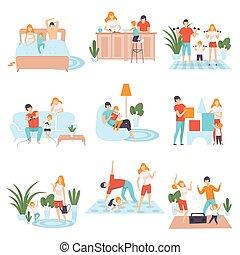 烹调, 书, 生活, 家庭, 跳舞, 放置, 描述, 玩, 运动, 他们, 矢量, 父母, 一起, 游戏, 家, 阅读, 每天, 孩子