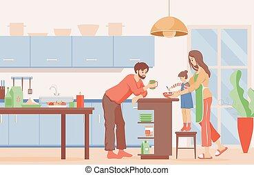 烹调, illustration., 矢量, 薄煎饼, 家庭, 父亲, kitchen., 时间, 套间, 早餐, 妈妈, 女儿
