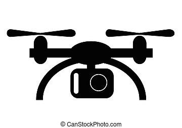 無人機, カメラ, 単純である, シルエット, 小さい