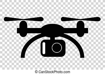 無人機, カメラ, 単純である, 透明, シルエット, 効果, 小さい, 背景