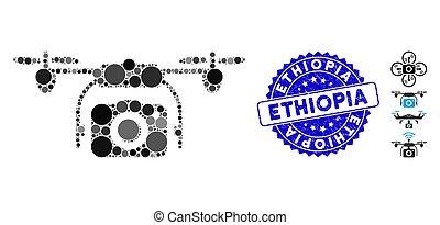 無人機, 写真, コラージュ, 傷付けられる, 切手アイコン, エチオピア