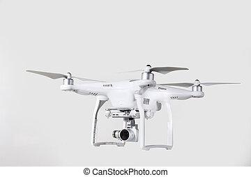 無人機, 航空写真, カメラ, 空気の写真撮影, そして, videography, 隔離された, 白, バックグラウンド。
