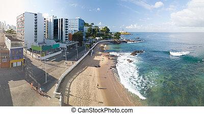 無人機, bahia, barra, 浜, brazil., サルバドール, 光景, 航空写真