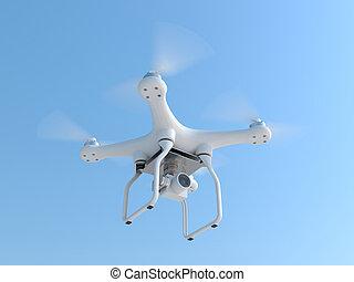 無人機, quadcopter, 取得, 写真撮影
