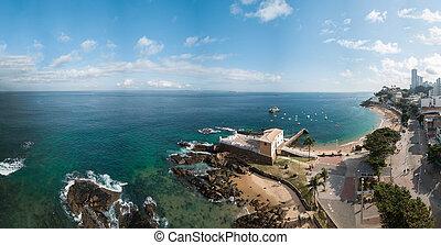 無人機, savaldor, bahia, barra, porto, 浜, brazil., 空中写真, da