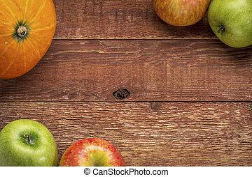 無作法, カボチャ, 木, りんご, 納屋