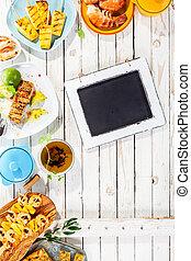 無作法, グリルされた, 黒板, 皿, テーブル