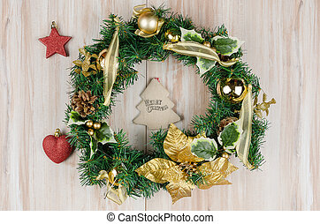 無作法, 木, 花輪, クリスマス, 背景