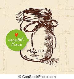 無作法, 石工, 缶詰になること, 瓶。, 型, 手, 引かれる, スケッチ, design.