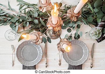 無作法, 装飾, スタイル, テーブル, 結婚式