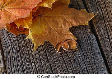 無作法, 装飾, 結婚式, 木, 秋
