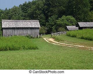 無作法, 農場, 古い, stead