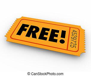 無料で, アクセス, 招待, 切符, 無料, 開いた