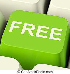 無料で, コンピュータのキー, 中に, 緑, 提示, freebie, そして, promo