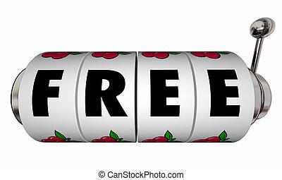 無料で, スロットマシン, 車輪, 無料, 特別, セール, 提供, 単語, 3d