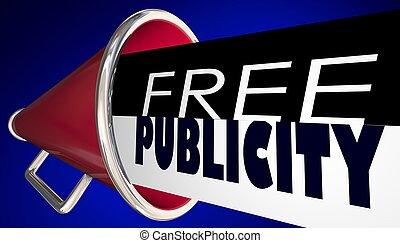 無料で, 公表, メガホン, bullhorn, pr, さらされること, 3d, イラスト