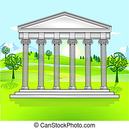 無料で, 寺院, 風景