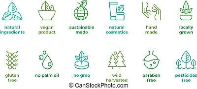 無料で, gluten, vegan, 化粧品, ベクトル, いいえ, ロゴ, 食物, ハンドメイド, 紋章, badge., 自然, 線, 有機体である, 線である, gmo, シンボル, eco