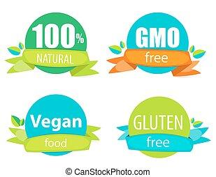 無料で, gluten, vegan, natutal, ベクトル, 100%, 食物, 無料で, セット, イラスト, ラベル, gmo