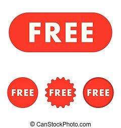 無料で, icon., 印。, 赤, button.