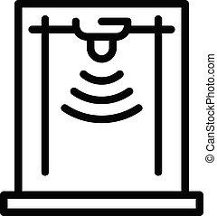 無線, アイコン, アウトライン, スタイル, 金属探知器