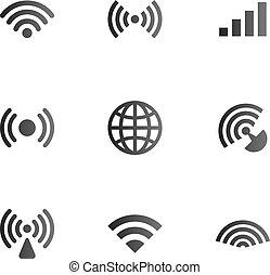 無線, シンボル, オブジェクト, セット, ネットワーク