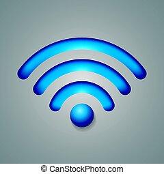 無線, シンボル, オブジェクト, ネットワーク