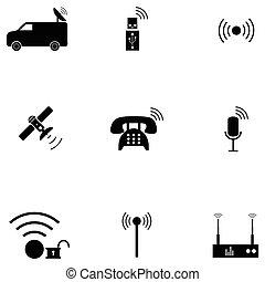 無線, セット, アイコン
