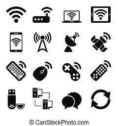 無線, セット, 装置, アイコン