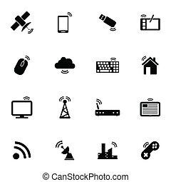 無線, セット, 黒, ベクトル, アイコン
