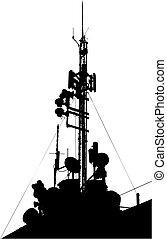 無線, タワー, 配線された, comm