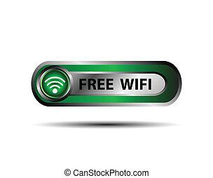 無線, ボタン, wifi, 無料で, ベクトル